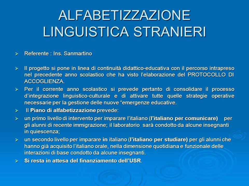 ALFABETIZZAZIONE LINGUISTICA STRANIERI  Referente : Ins. Sanmartino  Il progetto si pone in linea di continuità didattico-educativa con il percorso