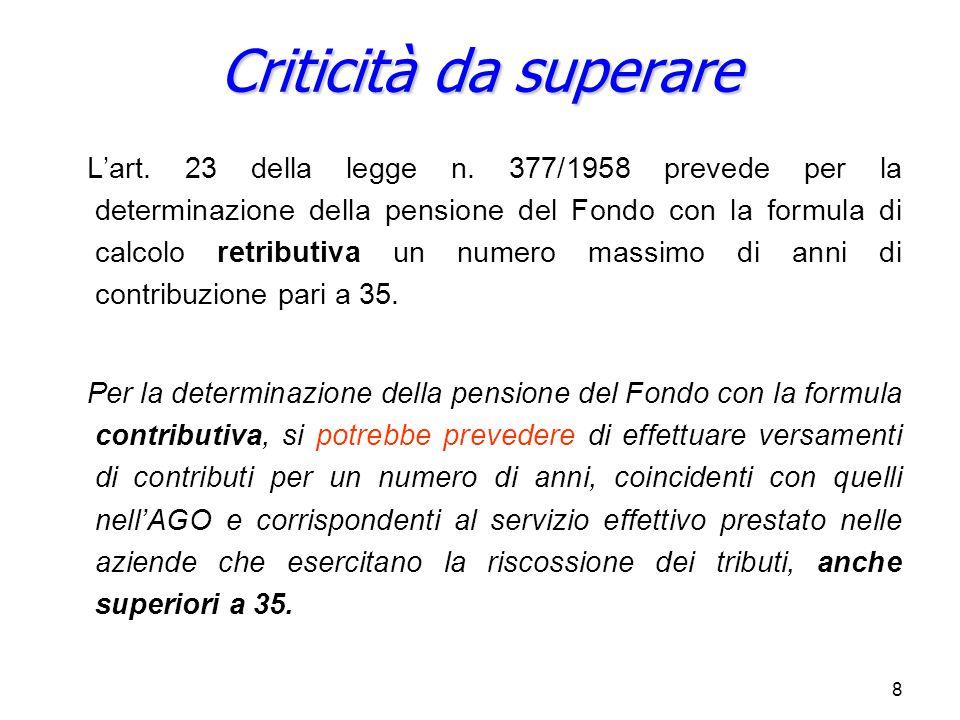 8 L'art. 23 della legge n. 377/1958 prevede per la determinazione della pensione del Fondo con la formula di calcolo retributiva un numero massimo di