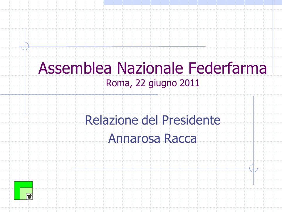 Assemblea Nazionale Federfarma Roma, 22 giugno 2011 Relazione del Presidente Annarosa Racca