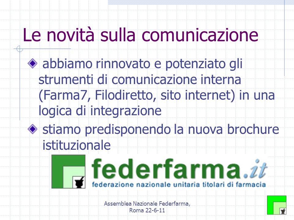 Assemblea Nazionale Federfarma, Roma 22-6-11 Le novità sulla comunicazione abbiamo rinnovato e potenziato gli strumenti di comunicazione interna (Farma7, Filodiretto, sito internet) in una logica di integrazione stiamo predisponendo la nuova brochure istituzionale