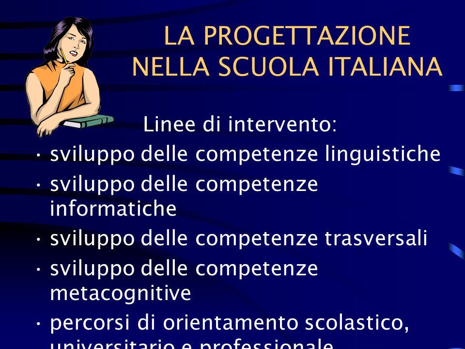 LA PROGETTAZIONE NELLA SCUOLA ITALIANA Linee di intervento: sviluppo delle competenze linguistiche sviluppo delle competenze informatiche sviluppo delle competenze trasversali sviluppo delle competenze metacognitive percorsi di orientamento scolastico, universitario e professionale