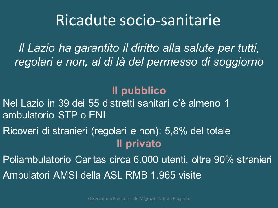 Ricadute socio-sanitarie Osservatorio Romano sulle Migrazioni. Sesto Rapporto Il pubblico Nel Lazio in 39 dei 55 distretti sanitari c'è almeno 1 ambul