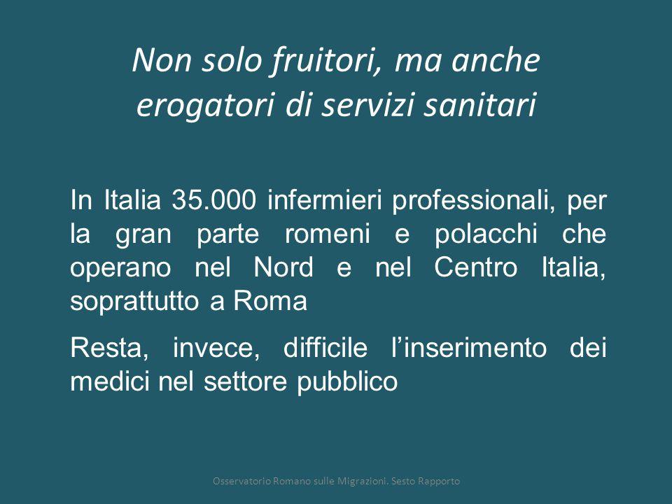 Non solo fruitori, ma anche erogatori di servizi sanitari Osservatorio Romano sulle Migrazioni. Sesto Rapporto In Italia 35.000 infermieri professiona