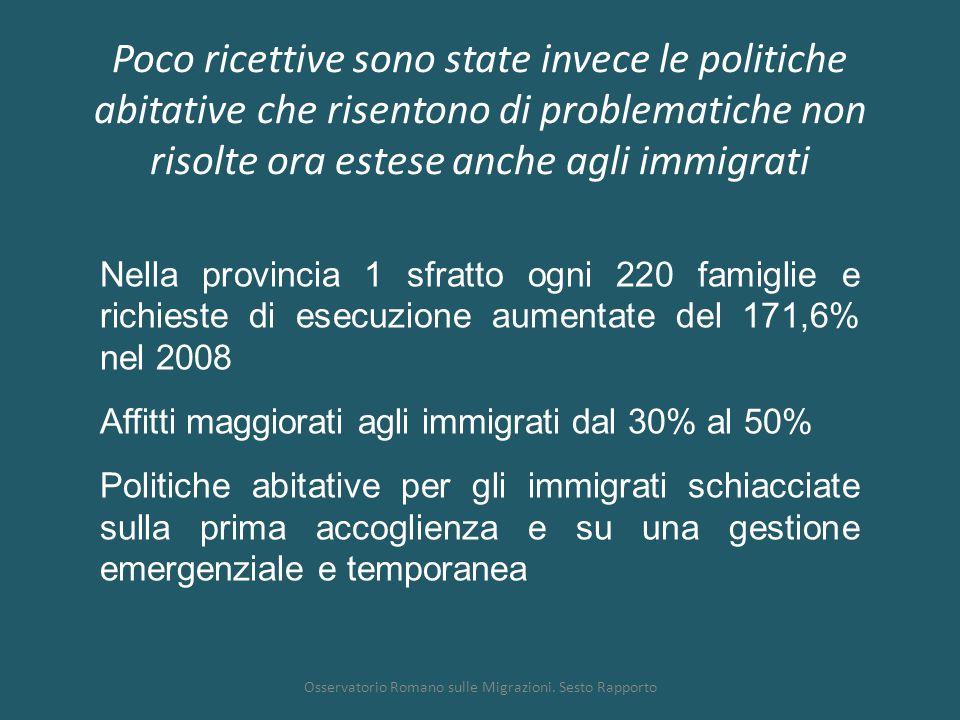 Poco ricettive sono state invece le politiche abitative che risentono di problematiche non risolte ora estese anche agli immigrati Osservatorio Romano sulle Migrazioni.