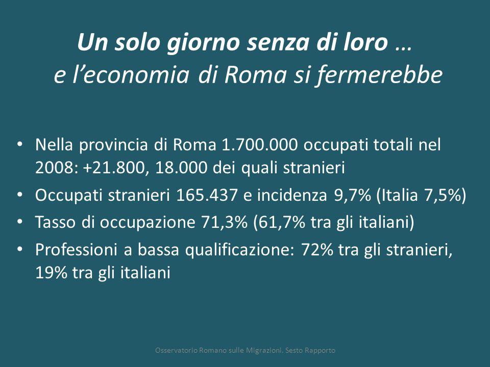 Un solo giorno senza di loro … e l'economia di Roma si fermerebbe Nella provincia di Roma 1.700.000 occupati totali nel 2008: +21.800, 18.000 dei qual