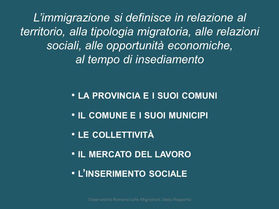 Osservatorio Romano sulle Migrazioni. Sesto Rapporto L'immigrazione si definisce in relazione al territorio, alla tipologia migratoria, alle relazioni