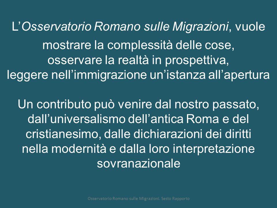 Osservatorio Romano sulle Migrazioni. Sesto Rapporto L'Osservatorio Romano sulle Migrazioni, vuole mostrare la complessità delle cose, osservare la re