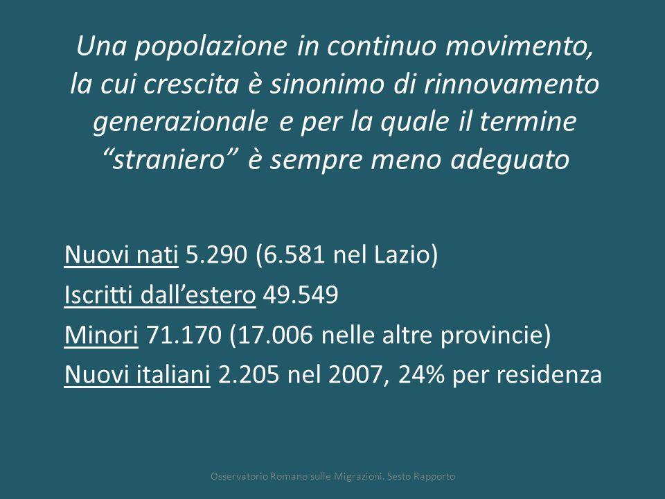 """Una popolazione in continuo movimento, la cui crescita è sinonimo di rinnovamento generazionale e per la quale il termine """"straniero"""" è sempre meno ad"""
