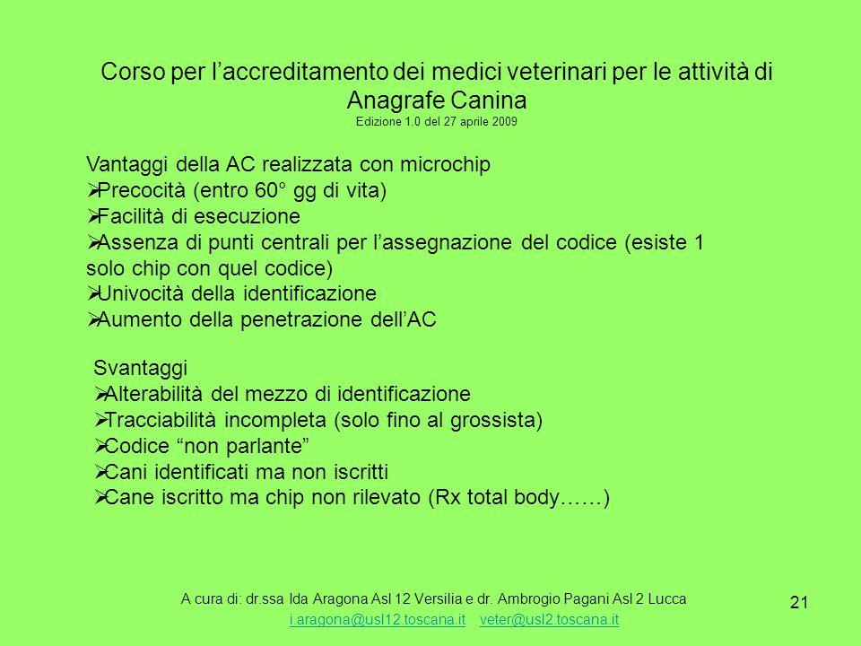 21 Corso per l'accreditamento dei medici veterinari per le attività di Anagrafe Canina Edizione 1.0 del 27 aprile 2009 A cura di: dr.ssa Ida Aragona Asl 12 Versilia e dr.