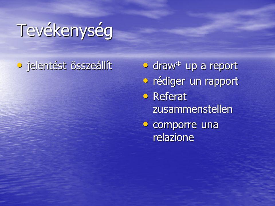 Tevékenység jelentést összeállít jelentést összeállít draw* up a report draw* up a report rédiger un rapport rédiger un rapport Referat zusammenstelle
