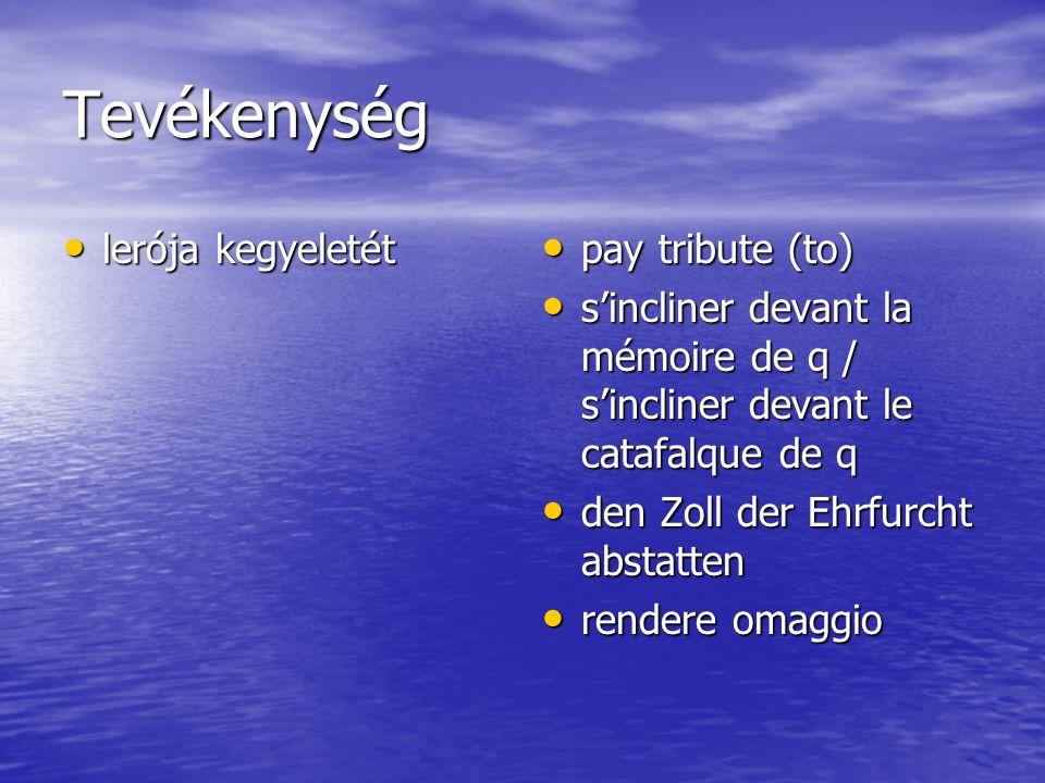 Tevékenység lerója kegyeletét lerója kegyeletét pay tribute (to) pay tribute (to) s'incliner devant la mémoire de q / s'incliner devant le catafalque de q s'incliner devant la mémoire de q / s'incliner devant le catafalque de q den Zoll der Ehrfurcht abstatten den Zoll der Ehrfurcht abstatten rendere omaggio rendere omaggio
