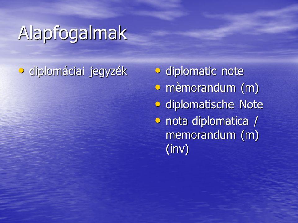 Alapfogalmak diplomáciai jegyzék diplomáciai jegyzék diplomatic note diplomatic note mèmorandum (m) mèmorandum (m) diplomatische Note diplomatische Note nota diplomatica / memorandum (m) (inv) nota diplomatica / memorandum (m) (inv)