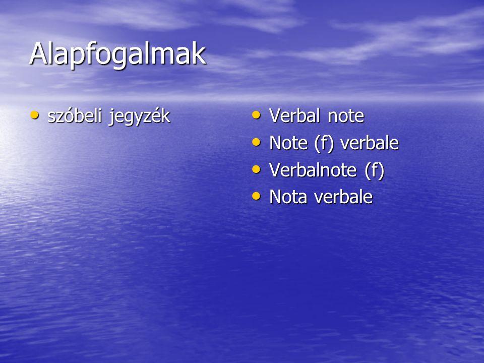 Alapfogalmak szóbeli jegyzék szóbeli jegyzék Verbal note Verbal note Note (f) verbale Note (f) verbale Verbalnote (f) Verbalnote (f) Nota verbale Nota verbale