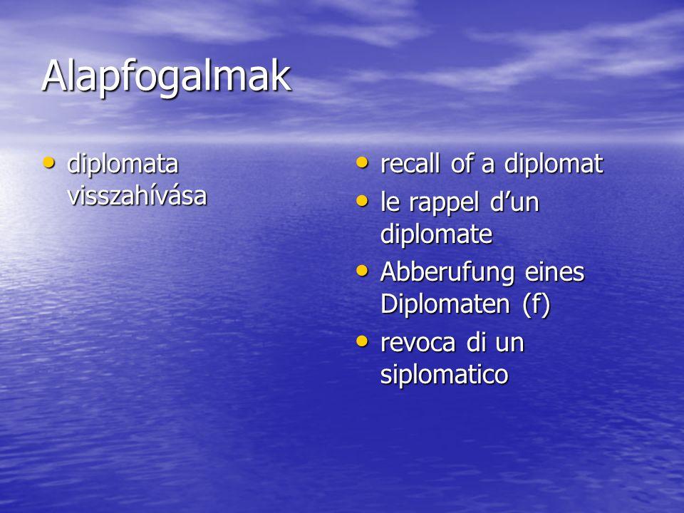 Alapfogalmak diplomata visszahívása diplomata visszahívása recall of a diplomat recall of a diplomat le rappel d'un diplomate le rappel d'un diplomate Abberufung eines Diplomaten (f) Abberufung eines Diplomaten (f) revoca di un siplomatico revoca di un siplomatico