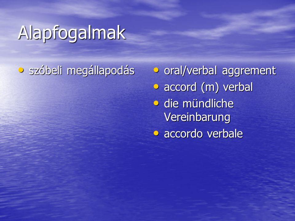 Alapfogalmak szóbeli megállapodás szóbeli megállapodás oral/verbal aggrement oral/verbal aggrement accord (m) verbal accord (m) verbal die mündliche Vereinbarung die mündliche Vereinbarung accordo verbale accordo verbale