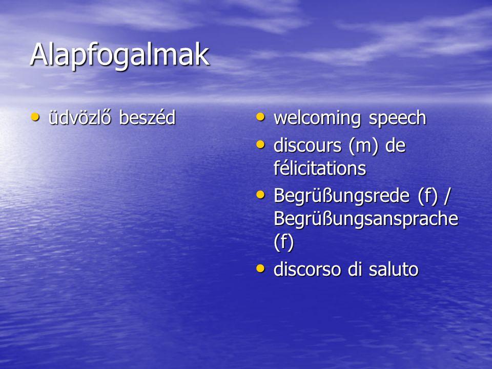 Alapfogalmak üdvözlő beszéd üdvözlő beszéd welcoming speech welcoming speech discours (m) de félicitations discours (m) de félicitations Begrüßungsrede (f) / Begrüßungsansprache (f) Begrüßungsrede (f) / Begrüßungsansprache (f) discorso di saluto discorso di saluto