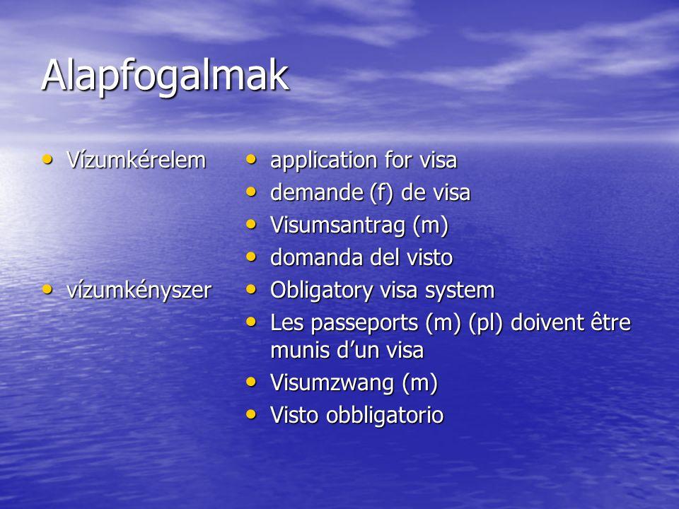 Alapfogalmak Vízumkérelem Vízumkérelem vízumkényszer vízumkényszer application for visa application for visa demande (f) de visa demande (f) de visa V