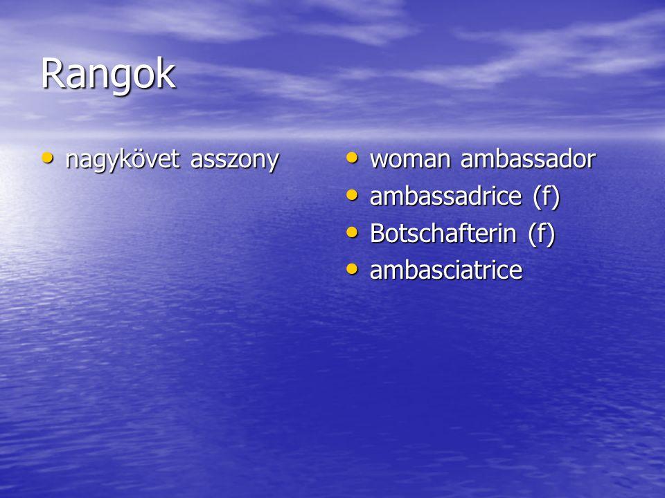 Rangok nagykövet asszony nagykövet asszony woman ambassador woman ambassador ambassadrice (f) ambassadrice (f) Botschafterin (f) Botschafterin (f) ambasciatrice ambasciatrice