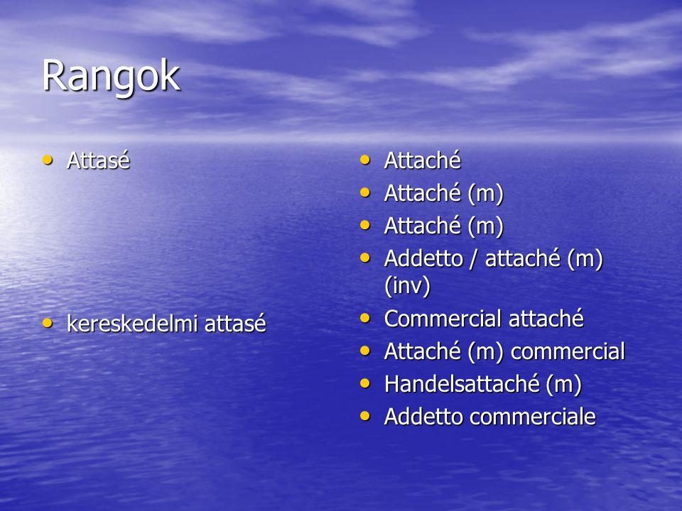 Rangok Attasé Attasé kereskedelmi attasé kereskedelmi attasé Attaché Attaché Attaché (m) Attaché (m) Addetto / attaché (m) (inv) Addetto / attaché (m)