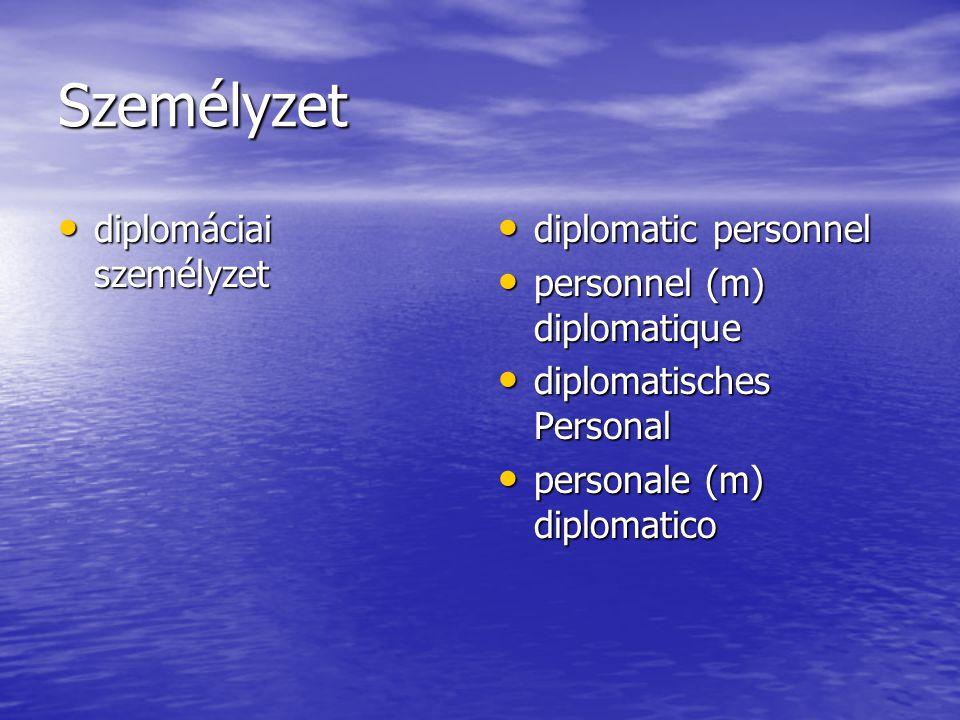 Személyzet diplomáciai személyzet diplomáciai személyzet diplomatic personnel diplomatic personnel personnel (m) diplomatique personnel (m) diplomatique diplomatisches Personal diplomatisches Personal personale (m) diplomatico personale (m) diplomatico