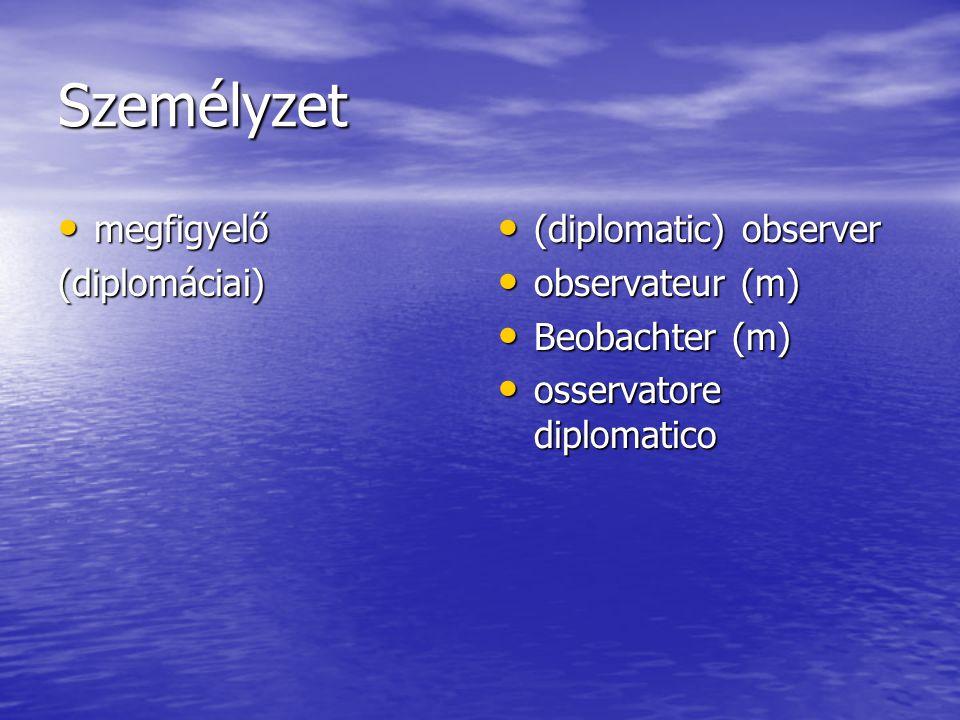 Személyzet megfigyelő megfigyelő(diplomáciai) (diplomatic) observer (diplomatic) observer observateur (m) observateur (m) Beobachter (m) Beobachter (m) osservatore diplomatico osservatore diplomatico