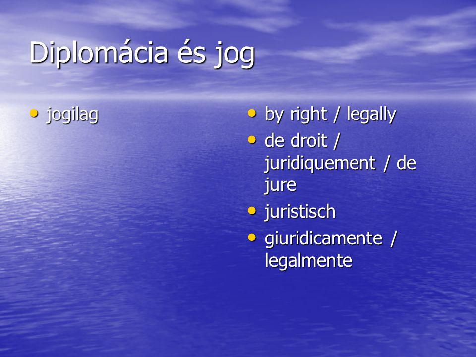 Diplomácia és jog jogilag jogilag by right / legally by right / legally de droit / juridiquement / de jure de droit / juridiquement / de jure juristisch juristisch giuridicamente / legalmente giuridicamente / legalmente