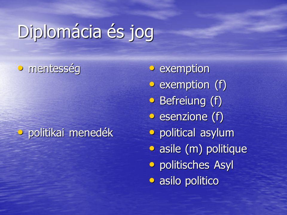 Diplomácia és jog mentesség mentesség politikai menedék politikai menedék exemption exemption exemption (f) exemption (f) Befreiung (f) Befreiung (f) esenzione (f) esenzione (f) political asylum political asylum asile (m) politique asile (m) politique politisches Asyl politisches Asyl asilo politico asilo politico