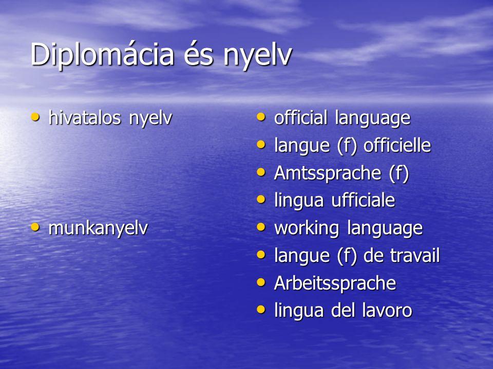 Diplomácia és nyelv hivatalos nyelv hivatalos nyelv munkanyelv munkanyelv official language official language langue (f) officielle langue (f) officie