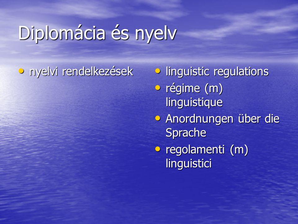 Diplomácia és nyelv nyelvi rendelkezések nyelvi rendelkezések linguistic regulations linguistic regulations régime (m) linguistique régime (m) linguistique Anordnungen über die Sprache Anordnungen über die Sprache regolamenti (m) linguistici regolamenti (m) linguistici