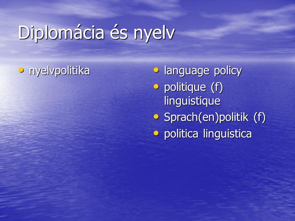 Diplomácia és nyelv nyelvpolitika nyelvpolitika language policy language policy politique (f) linguistique politique (f) linguistique Sprach(en)politik (f) Sprach(en)politik (f) politica linguistica politica linguistica