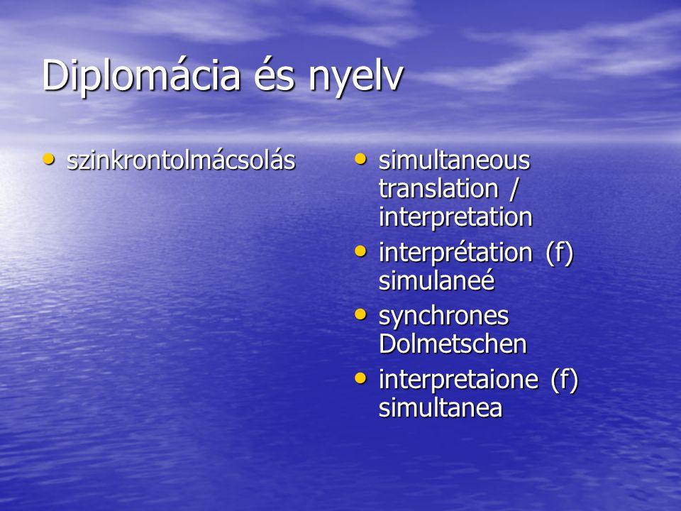 Diplomácia és nyelv szinkrontolmácsolás szinkrontolmácsolás simultaneous translation / interpretation simultaneous translation / interpretation interp