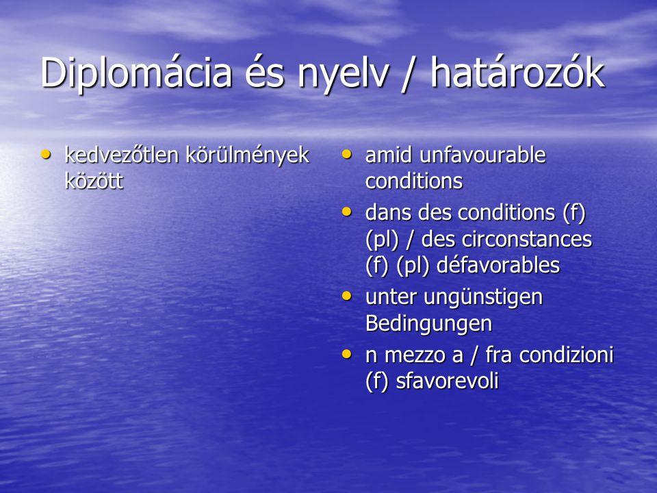 Diplomácia és nyelv / határozók kedvezőtlen körülmények között kedvezőtlen körülmények között amid unfavourable conditions amid unfavourable conditions dans des conditions (f) (pl) / des circonstances (f) (pl) défavorables dans des conditions (f) (pl) / des circonstances (f) (pl) défavorables unter ungünstigen Bedingungen unter ungünstigen Bedingungen n mezzo a / fra condizioni (f) sfavorevoli n mezzo a / fra condizioni (f) sfavorevoli