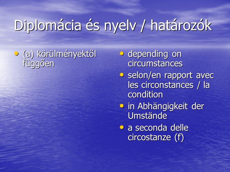 Diplomácia és nyelv / határozók (a) körülményektől függően (a) körülményektől függően depending on circumstances depending on circumstances selon/en r