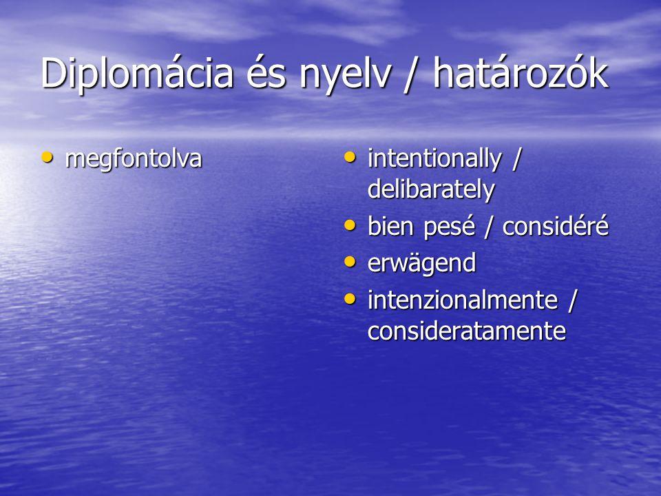 Diplomácia és nyelv / határozók megfontolva megfontolva intentionally / delibarately intentionally / delibarately bien pesé / considéré bien pesé / considéré erwägend erwägend intenzionalmente / consideratamente intenzionalmente / consideratamente