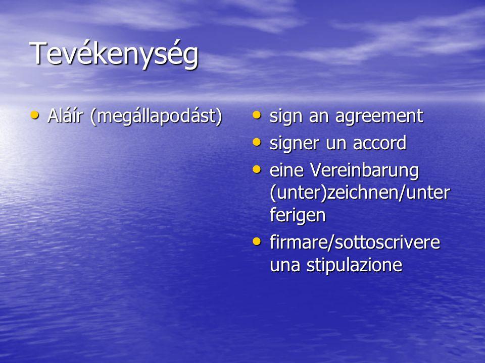 Tevékenység Aláír (megállapodást) Aláír (megállapodást) sign an agreement sign an agreement signer un accord signer un accord eine Vereinbarung (unter)zeichnen/unter ferigen eine Vereinbarung (unter)zeichnen/unter ferigen firmare/sottoscrivere una stipulazione firmare/sottoscrivere una stipulazione