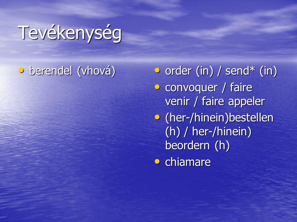 Tevékenység berendel (vhová) berendel (vhová) order (in) / send* (in) order (in) / send* (in) convoquer / faire venir / faire appeler convoquer / faire venir / faire appeler (her-/hinein)bestellen (h) / her-/hinein) beordern (h) (her-/hinein)bestellen (h) / her-/hinein) beordern (h) chiamare chiamare