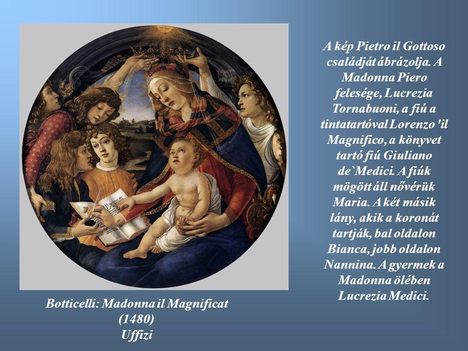 A kép Pietro il Gottoso családját ábrázolja. A Madonna Piero felesége, Lucrezia Tornabuoni, a fiú a tintatartóval Lorenzo 'il Magnifico, a könyvet tar