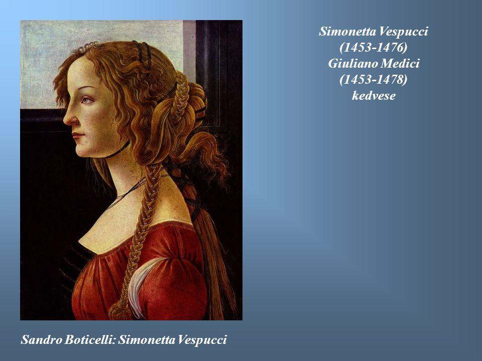 Sandro Boticelli: Simonetta Vespucci Simonetta Vespucci (1453-1476) Giuliano Medici (1453-1478) kedvese