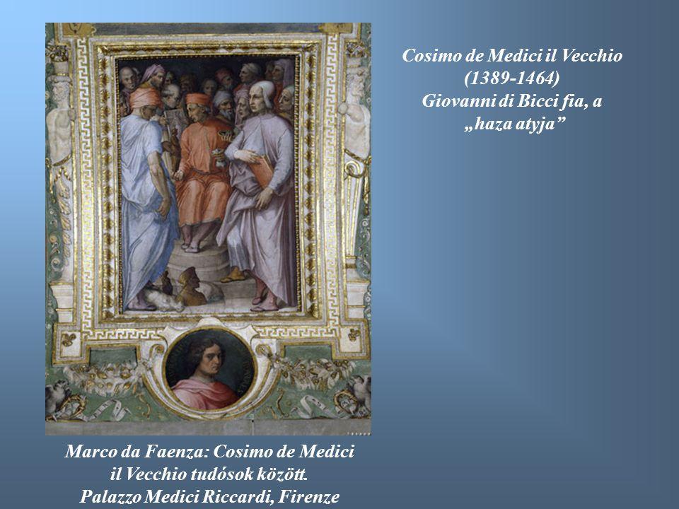 Marco da Faenza: Cosimo de Medici il Vecchio tudósok között. Palazzo Medici Riccardi, Firenze Cosimo de Medici il Vecchio (1389-1464) Giovanni di Bicc