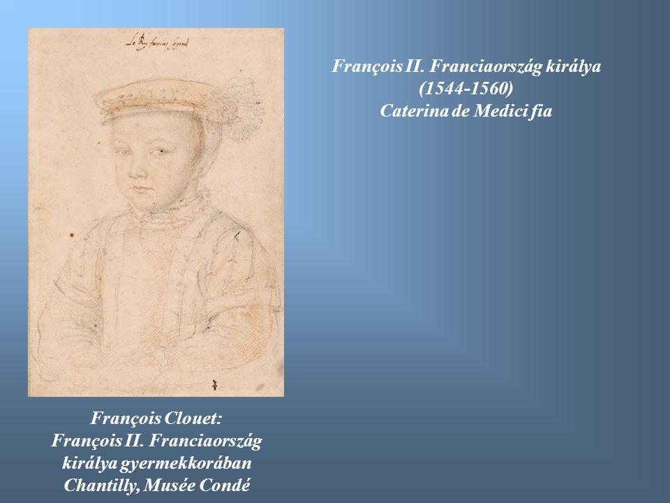 François Clouet: François II. Franciaország királya gyermekkorában Chantilly, Musée Condé François II. Franciaország királya (1544-1560) Caterina de M