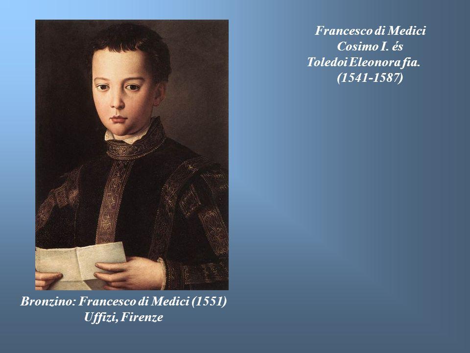 Bronzino: Francesco di Medici (1551) Uffizi, Firenze Francesco di Medici Cosimo I. és Toledoi Eleonora fia. (1541-1587)