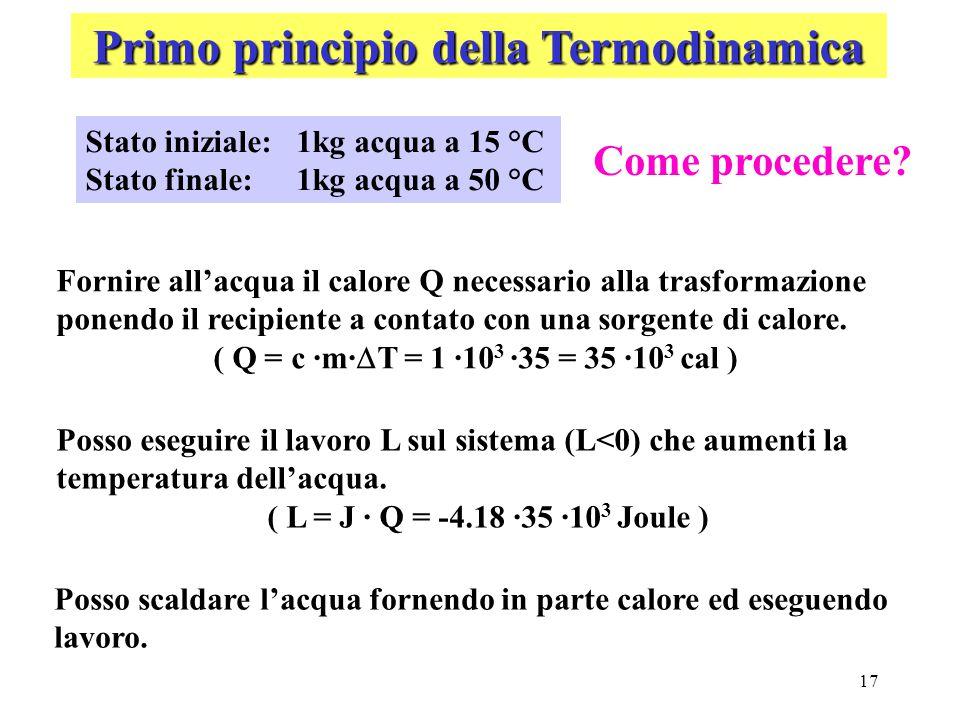 17 Primo principio della Termodinamica Stato iniziale:1kg acqua a 15 °C Stato finale:1kg acqua a 50 °C Fornire all'acqua il calore Q necessario alla t
