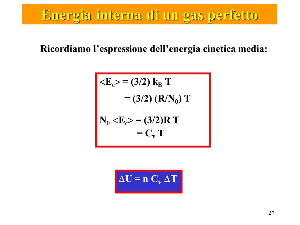 27  U = n C v  T Energia interna di un gas perfetto Ricordiamo l'espressione dell'energia cinetica media:  E c  = (3/2) k B T = (3/2) (R/N 0 ) T N