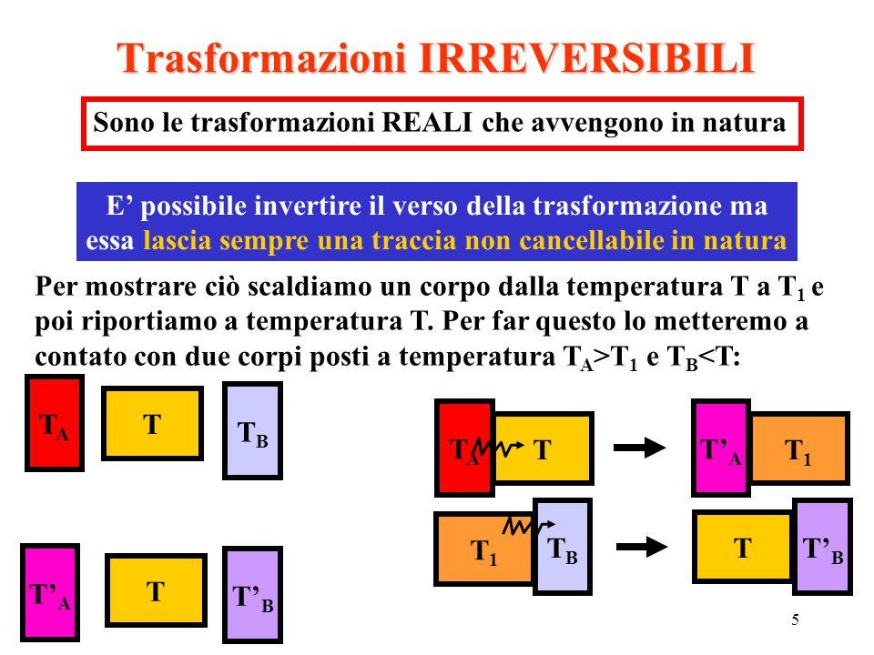 5 Trasformazioni IRREVERSIBILI Sono le trasformazioni REALI che avvengono in natura E' possibile invertire il verso della trasformazione ma essa lasci