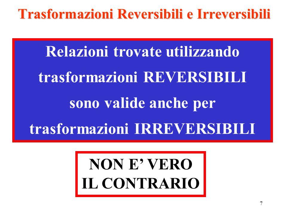 7 Trasformazioni Reversibili e Irreversibili Relazioni trovate utilizzando trasformazioni REVERSIBILI sono valide anche per trasformazioni IRREVERSIBI