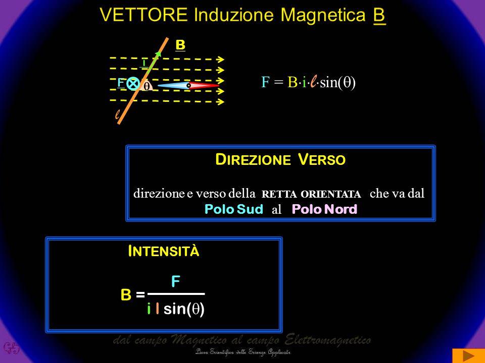  l  =0° l B F F i i l  =90° i B F i Sperimentalmente si trova che il campo esercita sul filo una forza F  i  l  sin(  ) Sperimentalmente si trova che la costante di proporzionalità dipende SOLO dal campo e varia da punto a punto.