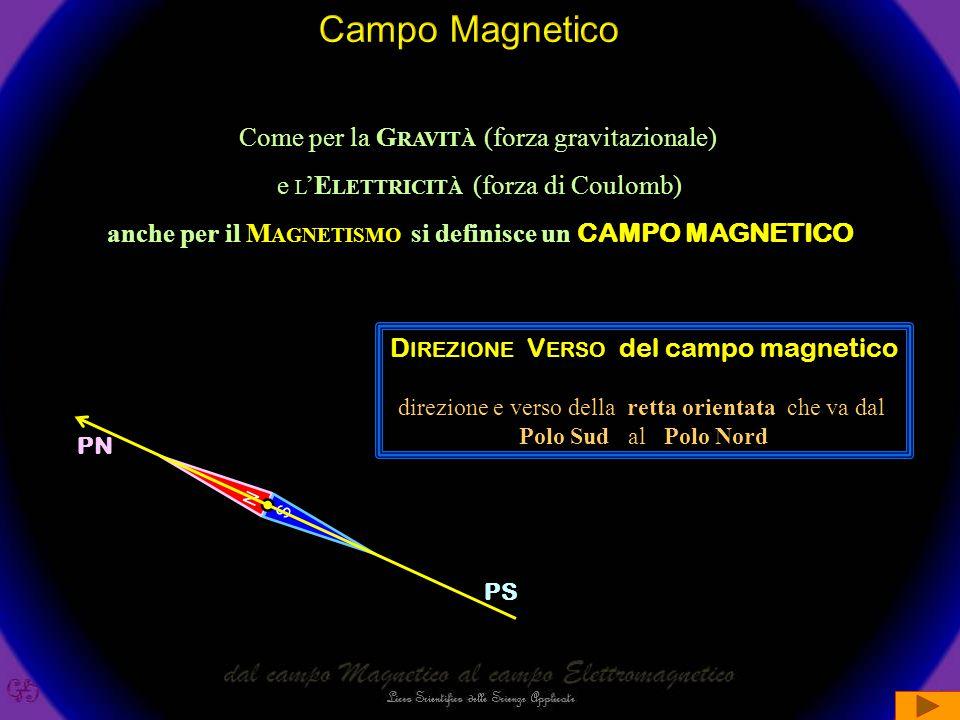 Come per la G RAVITÀ (forza gravitazionale) e L 'E LETTRICITÀ (forza di Coulomb) anche per il M AGNETISMO si definisce un CAMPO MAGNETICO N S D IREZIONE V ERSO del campo magnetico direzione e verso della retta orientata che va dal Polo Sud al Polo Nord PS PN