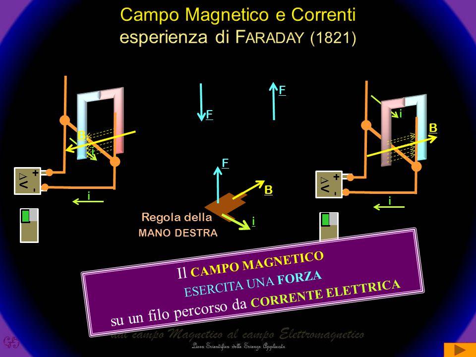 F +- VV i i +- VV i i B B F i B F Il CAMPO MAGNETICO ESERCITA UNA FORZA su un filo percorso da CORRENTE ELETTRICA