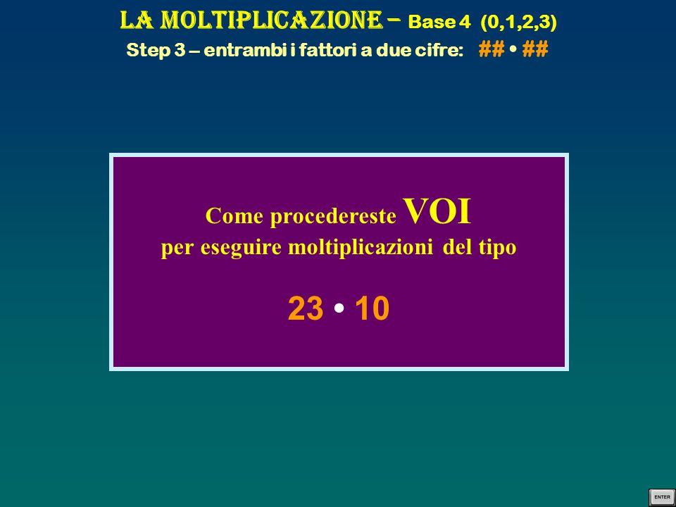 La Moltiplicazione – Base 4 (0,1,2,3) Step 3 – entrambi i fattori a due cifre: ## ## Come procedereste VOI per eseguire moltiplicazioni del tipo 23 10
