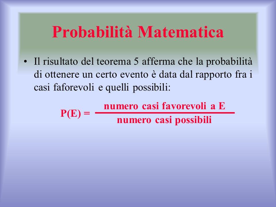 Probabilità Matematica Il risultato del teorema 5 afferma che la probabilità di ottenere un certo evento è data dal rapporto fra i casi faforevoli e q